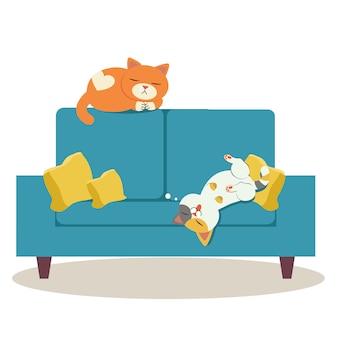 Dwie postacie kota śpiące na kanapie i wyglądające na relaksujące