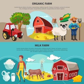 Dwie poziome kompozycje kreskówek farmy z nagłówkami ekologicznych i mlecznych