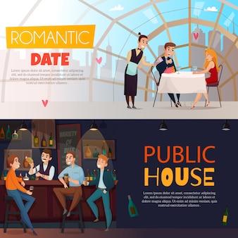 Dwie poziome osoby odwiedzające puby z romantyczną randką i nagłówkami domów publicznych