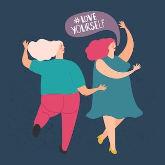 Dwie pulchne tańczące kobiety. kochaj siebie koncepcja