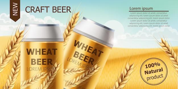 Dwie puszki z piwem rzemieślniczym na polu pełnym ziaren pszenicy. błękitne niebo pochmurne. realistyczne. miejsce na tekst