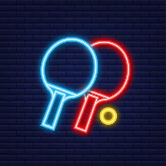 Dwie rakiety do gry w tenisa stołowego. neonowa ikona. ilustracja wektorowa.