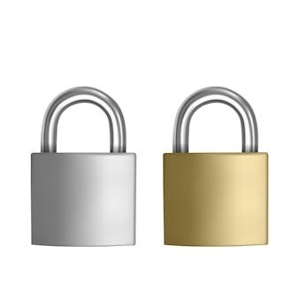 Dwie realistyczne ikony kłódka srebrna i złota