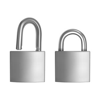 Dwie realistyczne ikony srebrna kłódka w pozycji otwartej i zamkniętej na białym tle