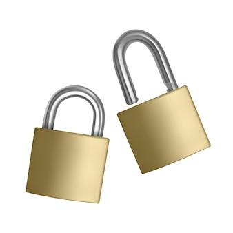 Dwie realistyczne ikony złote kłódki w pozycji otwartej i zamkniętej na białym tle