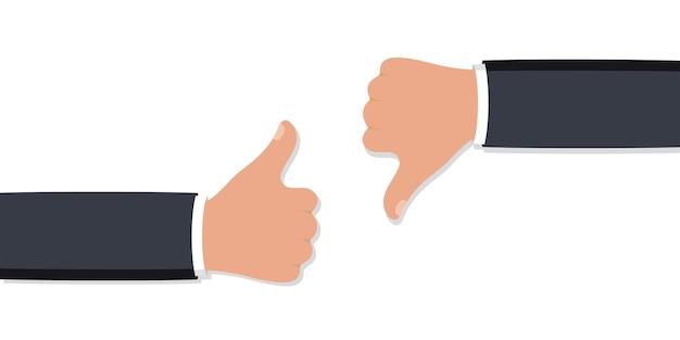 Dwie ręce kciuki w górę iw dół. lubię ikony niechęci do sieci społecznościowych. ikona dłoni na białym tle