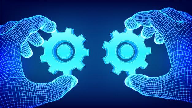 Dwie ręce łączą koła zębate. praca zespołowa, koncepcja współpracy. symbol skojarzenia i ilustracji połączenia