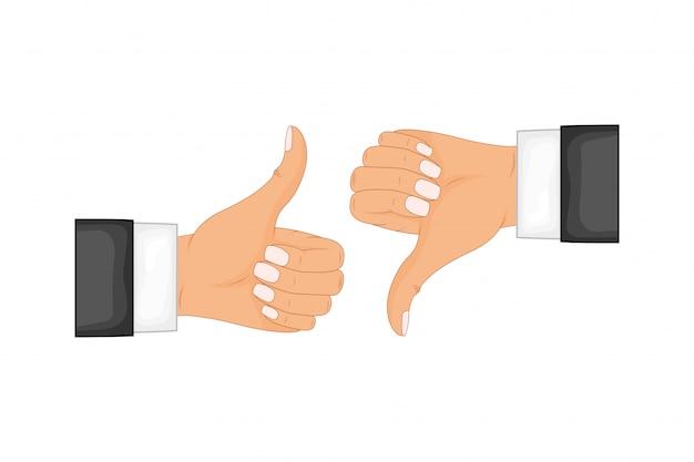 Dwie ręce pokazujące kciuk w górę i kciuk w dół znaki. pozytywne i negatywne opinie, dobre i złe gesty, lubią i nie lubią. ilustracja koncepcja płaski styl na białym tle.