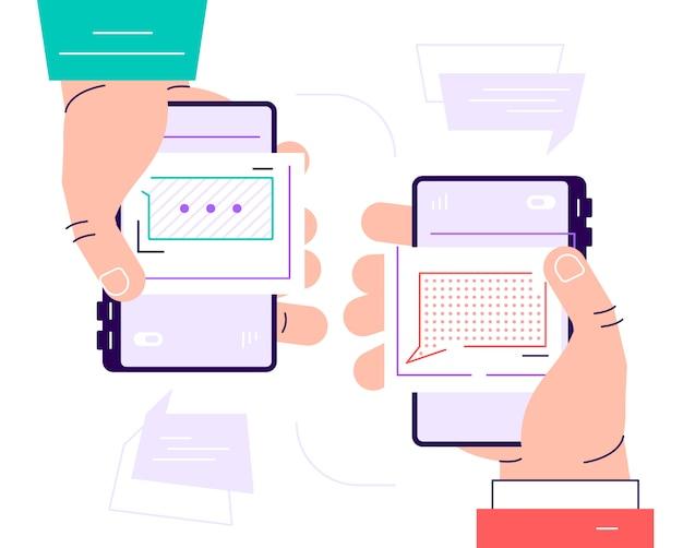 Dwie ręce trzymając telefon z wiadomości, ikony i emoji. komunikacyjny pojęcie na białym tle. koncepcja sieci społecznościowych. nowoczesne mieszkanie ilustracja kreskówka do projektowania stron internetowych i banerów