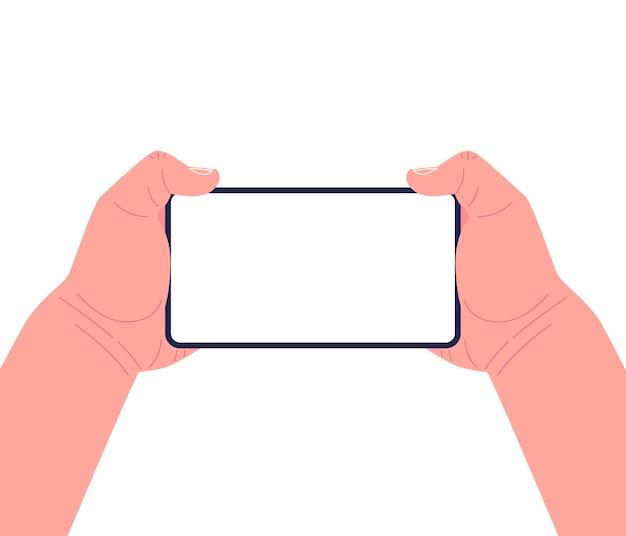 Dwie ręce trzymające smartfon poziomo. koncepcja gier mobilnych.