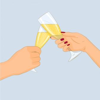Dwie ręce z kieliszkami szampana na białym tle