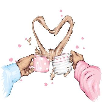 Dwie ręce z kubkami kakao. miłość, walentynki.