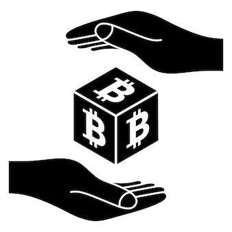 Dwie ręce z monetą bitcoin koncepcja oszczędzania pieniędzy moneta kryptowaluty symbol bitcoin