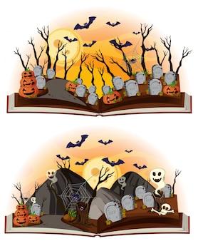 Dwie sceny halloweenowe na cmentarzu