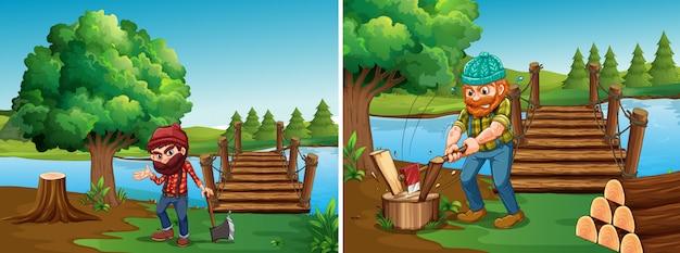 Dwie sceny z drwalami siekającymi drewno