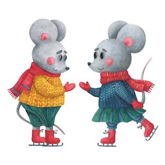 Dwie śliczne małe myszy jeżdżą na łyżwach. clipart ze zwierzętami w zimowych ubraniach.