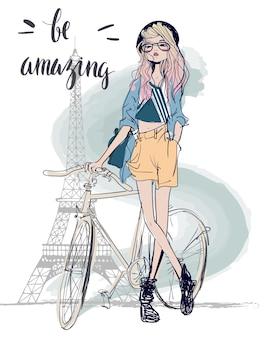 Dwie słodkie szkicowe letnie dziewczyny z rowerem