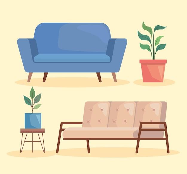 Dwie sofy i rośliny doniczkowe