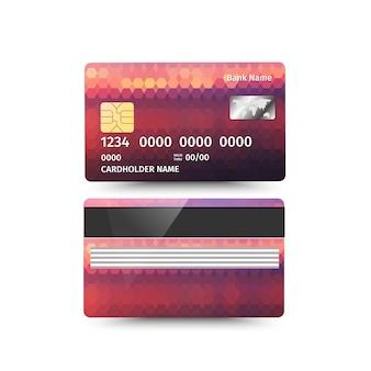 Dwie strony karty kredytowej z abstrakcyjnym wzorem.