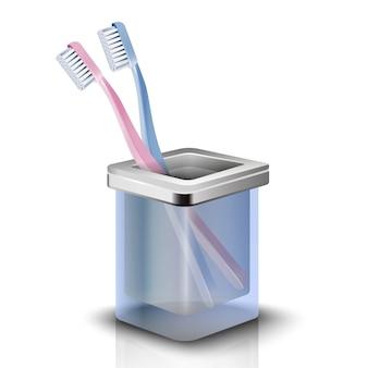 Dwie szczoteczki do zębów w filiżance. odosobniona ilustracja na białym tle.