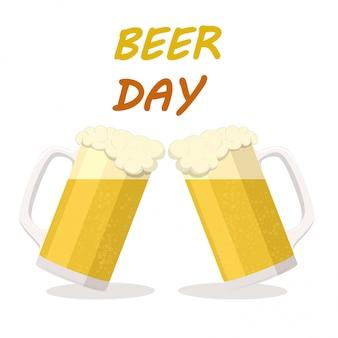 Dwie szklanki jasnego piwa