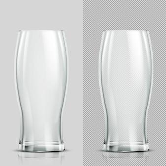 Dwie szklanki piwa. przezroczysty realistyczny element