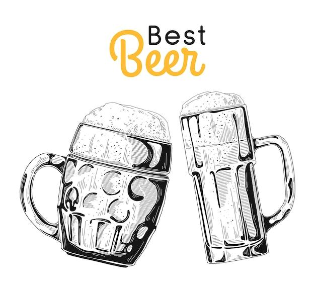Dwie szklanki z piwem. ilustracja w stylu szkicu.