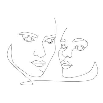 Dwie twarze kobiet narysowane jedną linią ciągłą. minimalistyczne abstrakcyjne portrety beautyful kobiet. koncepcja nowoczesnej mody. czarny szkic na białym tle