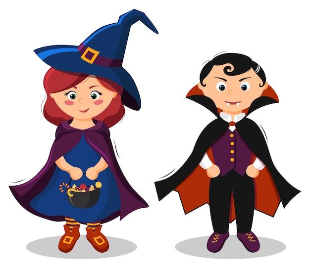 Dwie urocze dzieciaki w kostiumach wiedźmy i draculi na halloween.