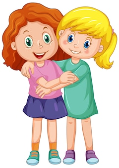Dwie urocze dziewczyny przytulające się do siebie
