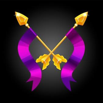Dwie włócznie skrzyżowane z fioletową flagą do gry. złote włócznie vintage wektor do walki.