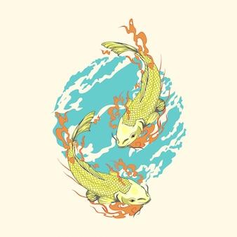 Dwie złote ręcznie rysowane ryby koi w stylu japońskim