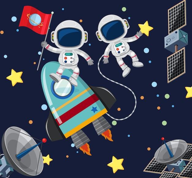 Dwóch astronautów latających w przestrzeni kosmicznej
