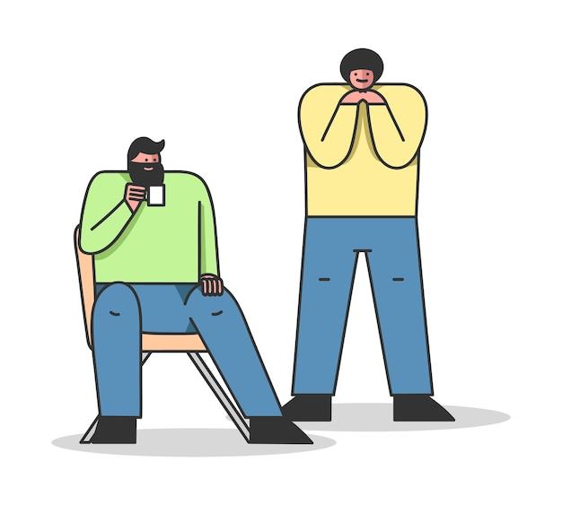 Dwóch atrakcyjnych studentów mężczyzn rozmawiających razem na różne tematy