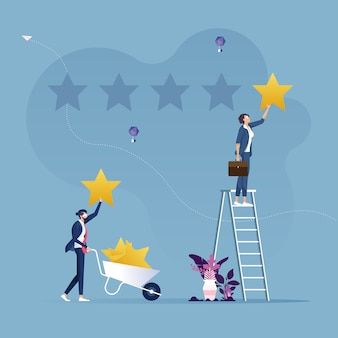 Dwóch biznesmenów, dając gwiazdy ocena koncepcja klienta przeglądu