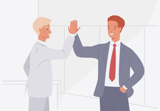 Dwóch biznesmenów daje piątkę. przyjazne powitanie mężczyzn. ilustracja wektorowa w stylu płaski