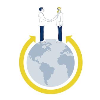 Dwóch biznesmenów drżenie rąk na świecie.