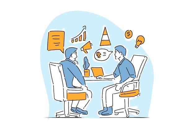 Dwóch biznesmenów dyskusja narysowana ilustracja