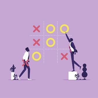 Dwóch biznesmenów grać w strategię biznesową gry tic tac toe decyzje i koncepcja konkurencji