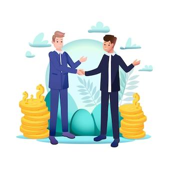 Dwóch biznesmenów ma udane transakcje. koncepcja umowy biznesowej