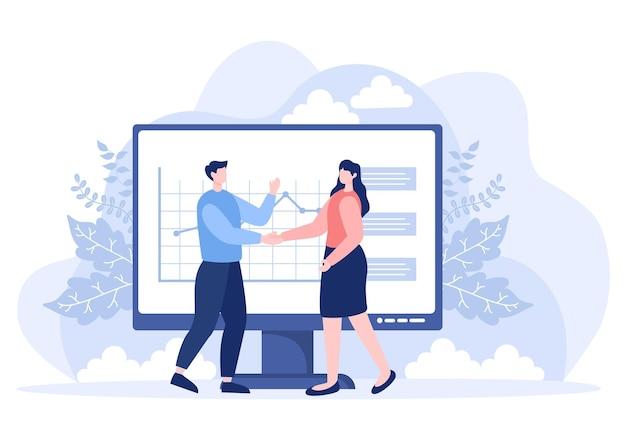 Dwóch biznesmenów osiąga porozumienie lub uścisk dłoni w sprawie umowy o współpracy jako odnoszący sukcesy partnerzy. ilustracja wektorowa tła