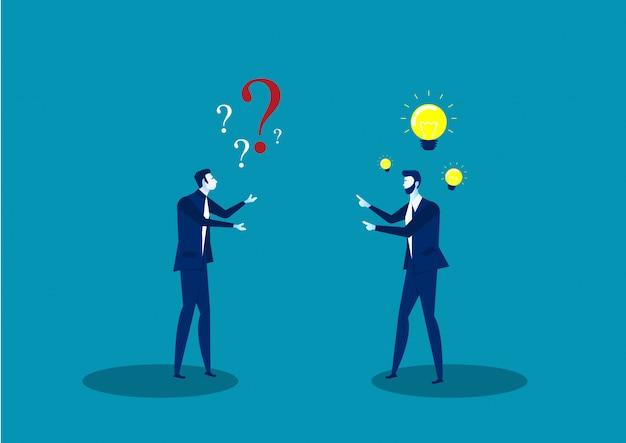 Dwóch biznesmenów podziela pomysł pozytywne myślenie