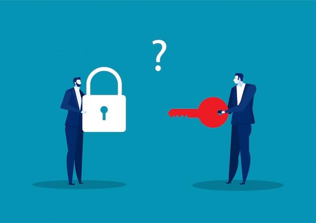 Dwóch biznesmenów posiadających klucz i blokadę do rozwiązania wektora sukcesu