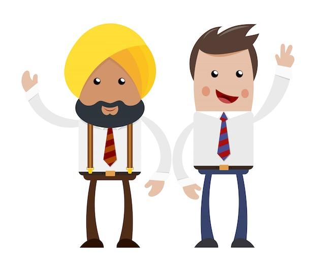 Dwóch biznesmenów. przyjaźń i współpraca oraz indyjski amerykański biznesmen.
