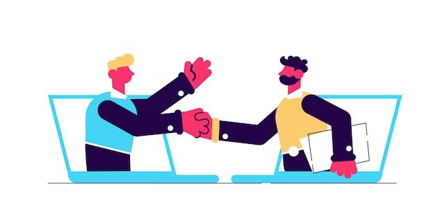 Dwóch biznesmenów rozmawia przez ekrany laptopów i podają sobie ręce. komunikacja online i spotkanie biznesowe, technologia komunikacji wideo i koncepcja aplikacji połączeń wideo. na białym tle