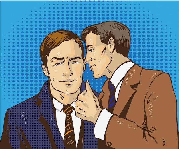 Dwóch biznesmenów rozmawia ze sobą. mężczyzna powie tajemnicy biznesowej swojego przyjaciela