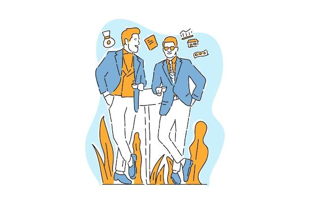 Dwóch biznesmenów rozmowa biznes ilustracja ręcznie rysować