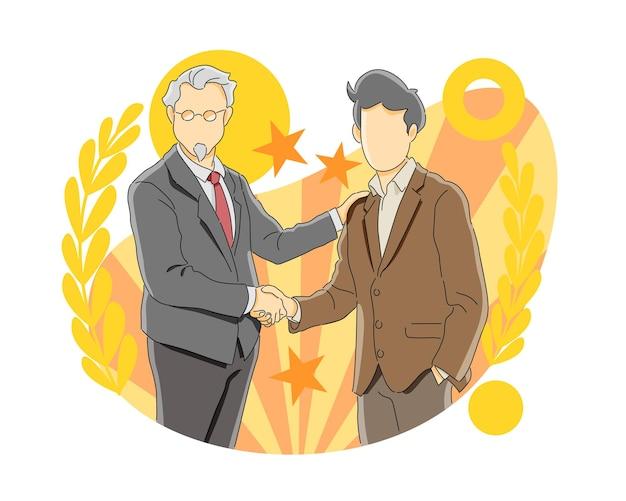 Dwóch biznesmenów ściskających dłonie gratulujące awansu