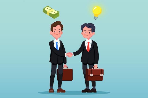 Dwóch biznesmenów, ściskających ręce. pojedynczo na niebieskawo-zielonym tle.
