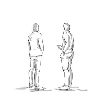 Dwóch biznesmenów szkic rozmawia z tyłu widok biznesmenów omawiając plan